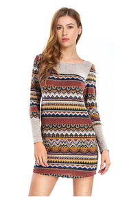 Tribal Color Block Striped Casual Dresses with Pockets