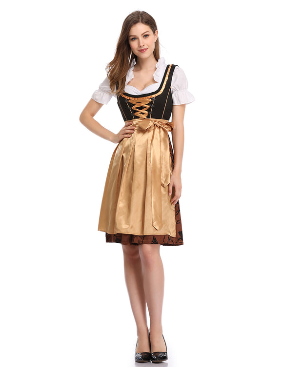 Clearlove Women's Classic Dirndl Dress Three PCS Suits for Traditional Bavarian Oktoberfest Costumes