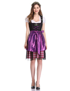 Kojooin Women's Oktoberfest Plaid Mesh Stitching Embroidery A Line Formal Dresses Suit