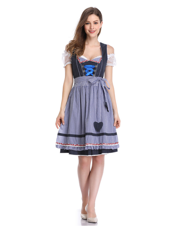 Women's Oktoberfest Lace Short Sleeve Dress Suit Dot Plaid Stitching Cold Shoulder Party Dress