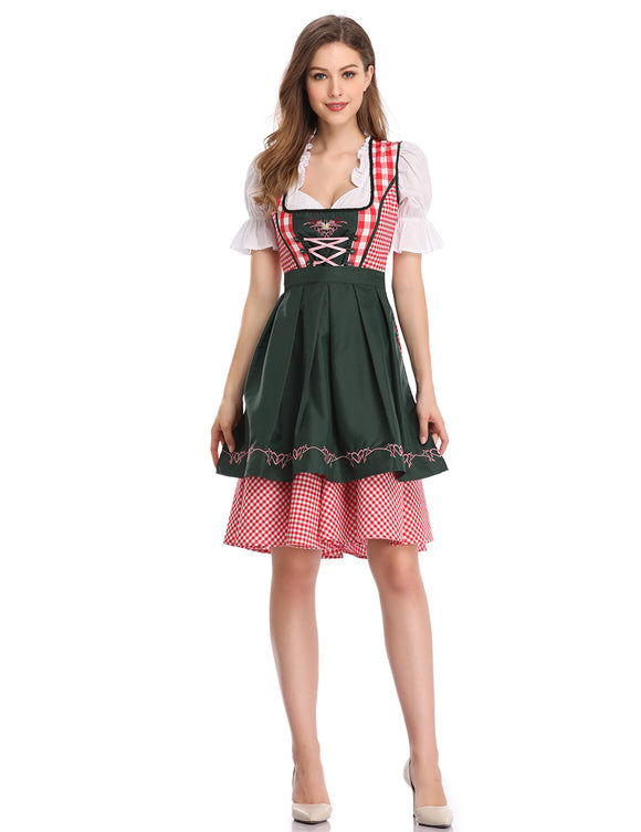 Kojooin Women's Oktoberfest Formal Dress Plaid Embroidery Petals Sleeve A Swing Party Dress Suits