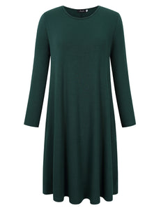 AMZ PLUS Women's Round Neck Long Sleeve Casual Loose Dress with Pockets