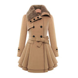 Women Slim Fit Medium Long Woolen Overcoat Double Breasted Windbreaker Overcoat-Camel