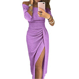 Fashion Women Slim Wrap Buttocks Off-shoulder Dress Sexy Sparkling Long Slit Dress