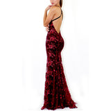 Women Sexy Slim V-neck Sequins Sling Long Formal Dress