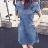 Women Large Size Casual Medium-length Short-sleeved Denim Dress-
