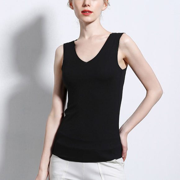 Women Solid Color Traceless Slim Vest