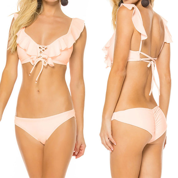 2pcs/set Women Pure Color Flounces Fashion Split Lacing Bikini Suit