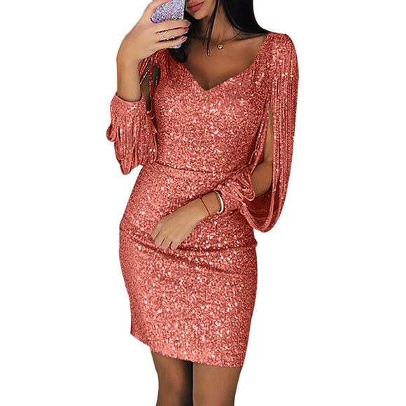 Women Sexy V-neck Slim Sequined Tassel Long Sleeve Dress