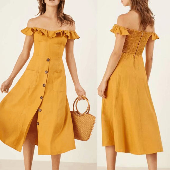 Summer Fashion Elegant Ruffle Boat Neck Collar Front Breasted Dress for Women Girl yellow
