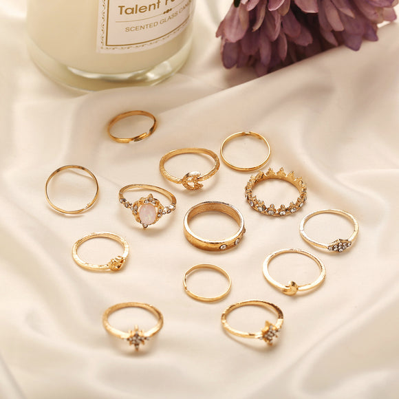13Pcs/Set Women Retro Style Fish Tail Knotted Star Shape Joint Rings Jewelry