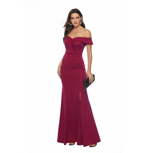 Woman Summer V-neck Slit Dress Dinner Party Evening Dress Floor-length Dresses