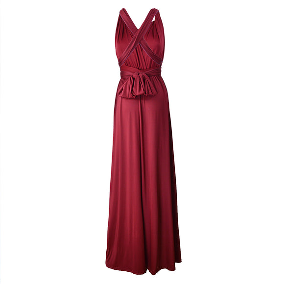 Women Evening Long Dress Multi-Way Wrap Convertible Halter Gown High Elasticity