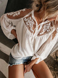 Women Sexy Long Sleeve Casual Tops Lace V Collar Blouse
