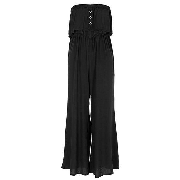 Women Fashion Summer Boat Neck Strapless Casual Jumpsuit