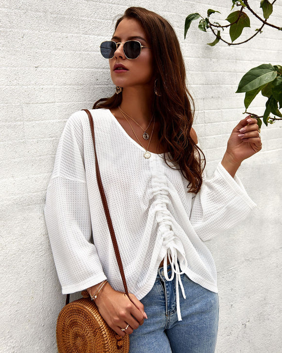 Woman Fashion Tops Chic Knitwear with Drawstring
