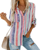 Fashion Women Long Sleeve Loose Blouse Color Striped Casual Shirt Summer Tops