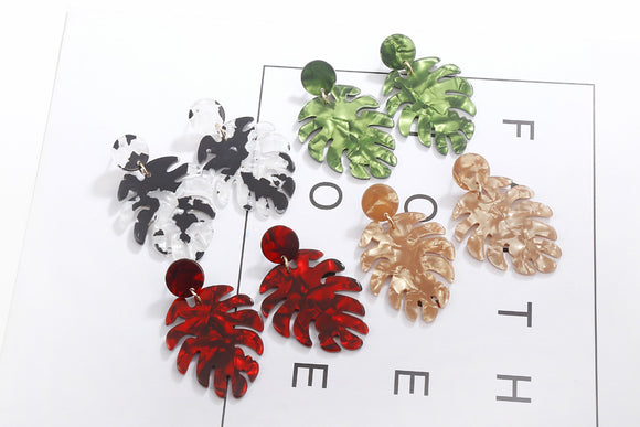 Leaf Acetate Plate Multilayer Earrings Female Autumn Bohemian Style