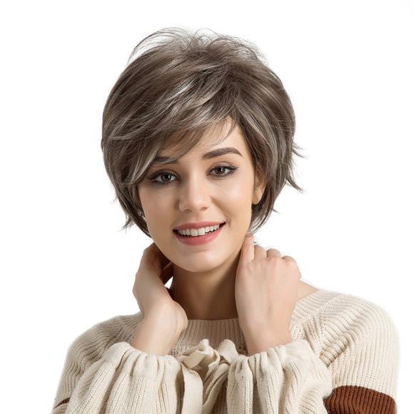 Synthetic Women Wigs with Bangs Fluffy Layered Straight Mixed Color Heat Resistant Short Hair Wig