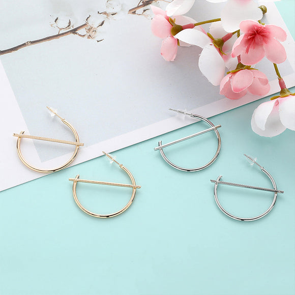 Simple Retro Style Metal Geometric Shape All Match Earrings