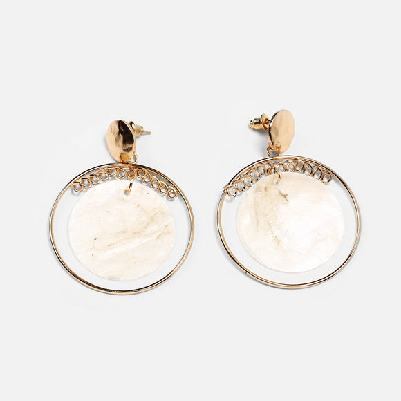 Women Fashion Retro Style Round Shape Shell Temperament Earrings