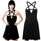Women Sexy Front Hollow Five Point Star Strapless Dress Halloween Costume