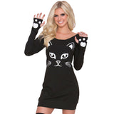 Halloween Sexy Miniskirt Bodycon Dress Skeleton Cat Boat Collar Long Sleeve Party Costume
