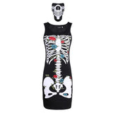 2Pcs/set Halloween Sexy Bodycon Dress + Mask Skeleton Sleeveless Cosplay Party Costume