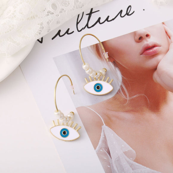 Women Fashion Pearl Bead Eye/Lip/Loving Heart Shape Pendant Earrings