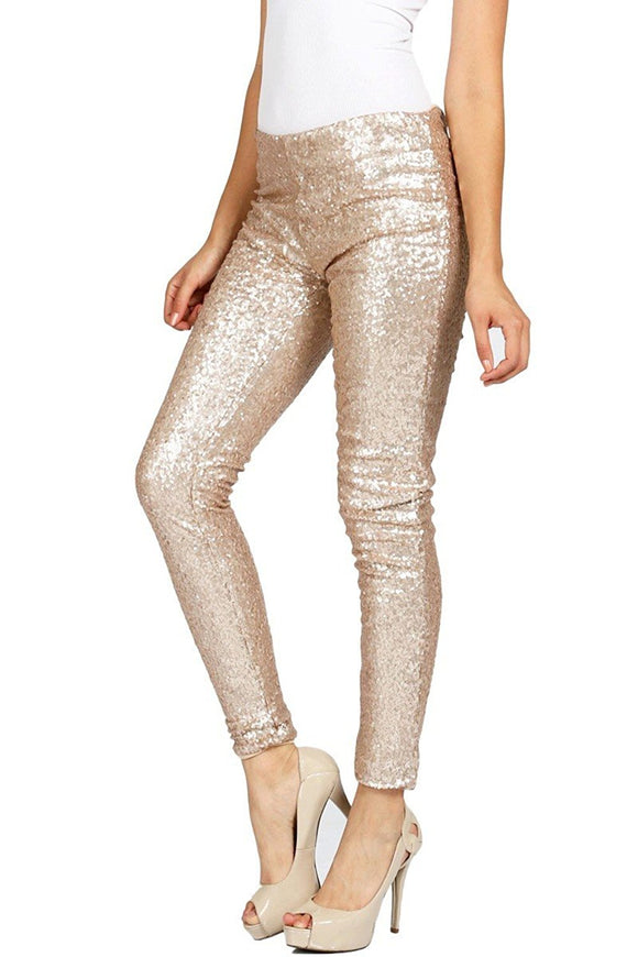 Winter Lady Slim Sequin Tight Leggings Stretch Paillette Pencil Pants