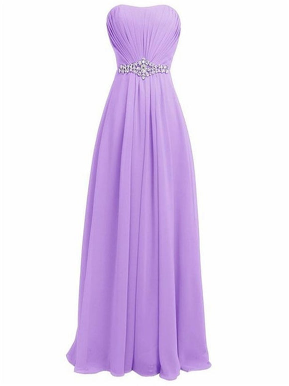 Strapless Empire Line with Rhinestone Long Bridesmaid Dress Evening Gown