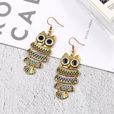 A Pair of Alloy Earrings The American and European Fashion Owl Earrings Female Personalized Jewelry