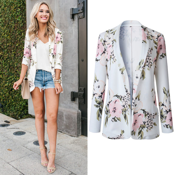 Female Casual Suit Jacket Floral Pattern All-matching Fashion Long Sleeve Coat