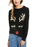 Women's Christmas Paillette Antlers Pullover Sweater Black