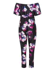 Women's Large Size Fashion Boat Neck Short Sleeve Printing Sexy Jumpsuit