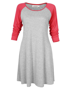 Leadingstar Contrast Stitching Cropped Sleeve Crew Neck Dress