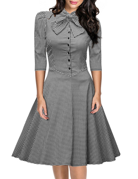 Leadingstar Women's Official Bow Neck Plaid Slim Half Sleeve Swing Vintage Dress