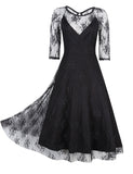 Glorysunshine Women Vintage Lace Long Sleeve A-line Swing Sexy Dress