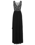 Glorysunshine Women Modest Sleeveless Lace Chiffon Maxi Party Gown