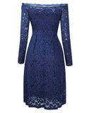 One-neck Long-sleeved Slouchy Lace Dress