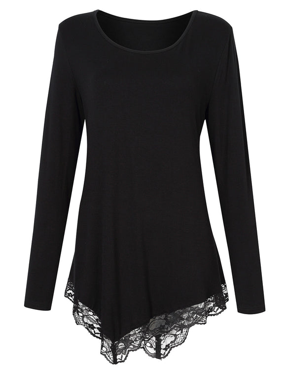 Leadingstar Women Scoop Neck Long Sleeve Irregular Lace Stitching T-shirt