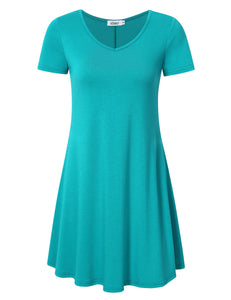 MISSKY Women's Casual Loose Tops Short Sleeve T-shirt V-neck Tunic