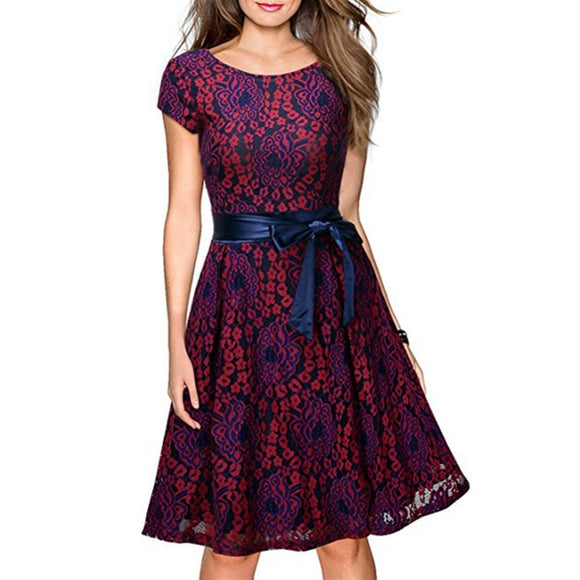 HiQueen Women's Lace Contrast Bow Cocktail Evening Dress Short Sleeve Dress Red