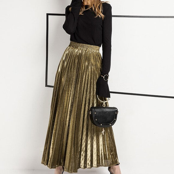 New Casual Gold Pleated Skirt Women Ankle Length Long Skrit Elastic Waist Maxi Skirts
