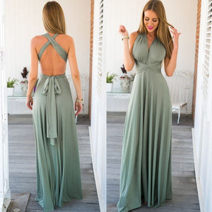 Women Sexy Solic Color Backless Long Dress
