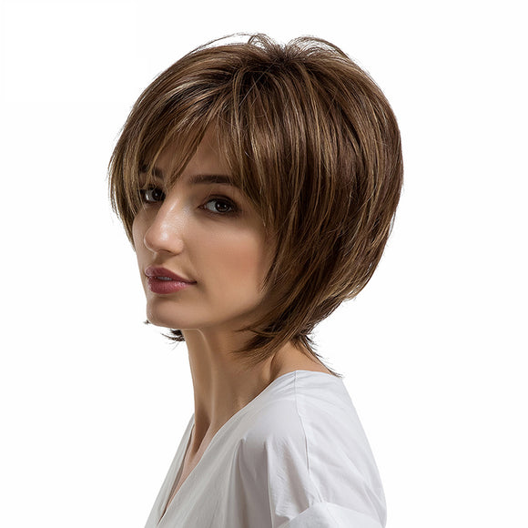 Women Realistic Fluffy Short Curly Hair High Temperature Fiber Synthetic Wig