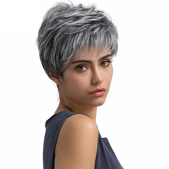 Short Hair Wig Pixie Cut Light Grey Hair Wig Synthetic Short Straight Wig for Women