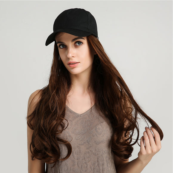 Women Fashion Baseball Hat with Synthetic Long Wavy Hair Extension