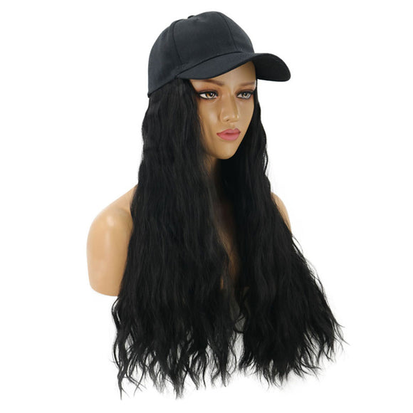 Women Lady Fashion Natural Black Wig Hat One-piece Cap Curly Perm Wig Cosplay Fancy Dress Party