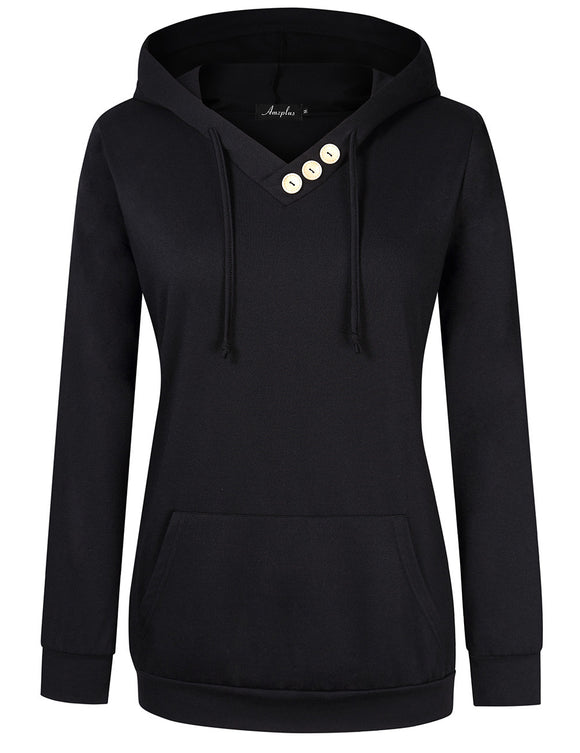 AMZ PLUS Women Long Sleeve Button V-Neck Hooded Sweatshirt Kangaroo Pocket Pullover Hoodie